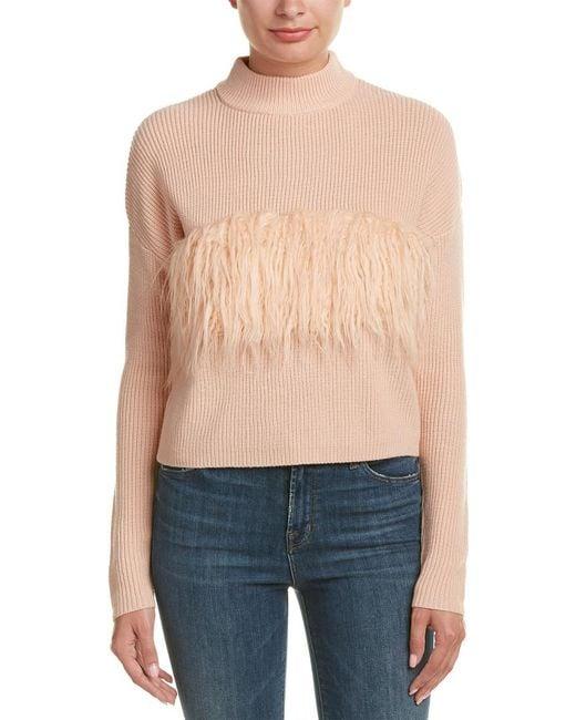 Kendall + Kylie - Pink Fuzzy Trim Wool Sweater - Lyst