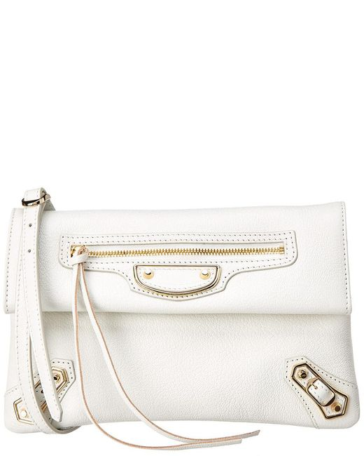 Balenciaga - White Metallic Classic Edge Leather Envelope Clutch - Lyst