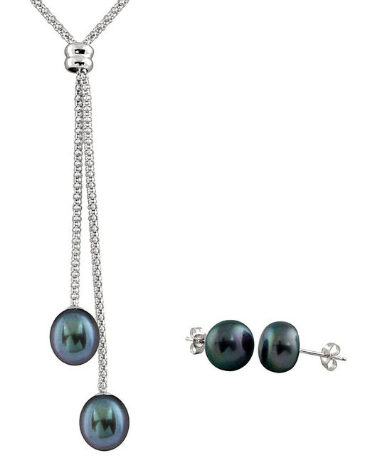Splendid - Multicolor Silver 7-7.5mm Freshwater Pearl Necklace & Studs Set - Lyst