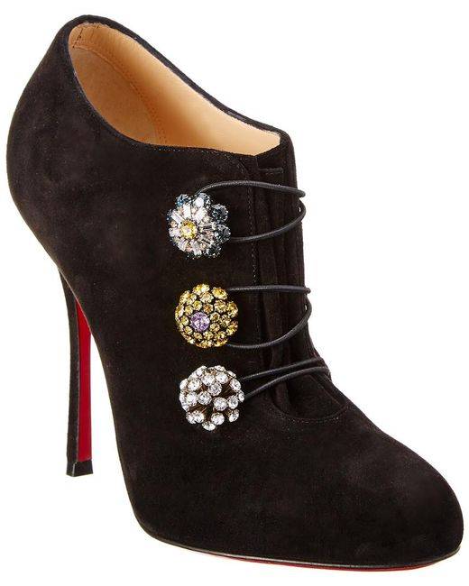 Christian Louboutin - Black Bootoni 100 Suede Ankle Bootie - Lyst