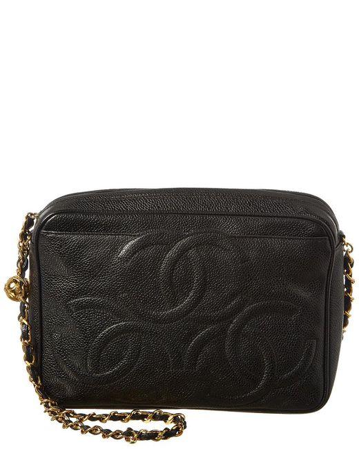 de84d7b2018 Chanel Black Caviar Leather 3 Cc Camera Bag in Black - Lyst