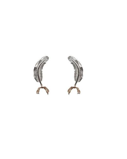 Bernard Delettrez | Metallic Little Silver Feather With Gold Parrot Claw Earrings | Lyst