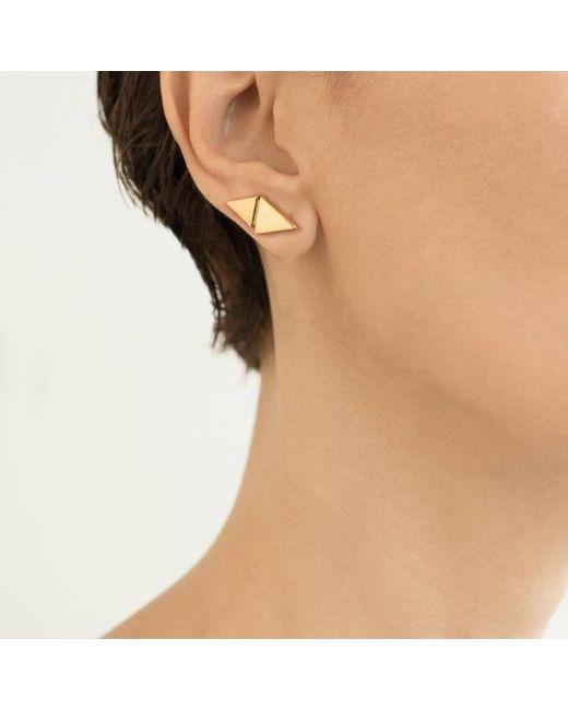 Hissia | Metallic Gold Pin Orgami Earrings | Lyst