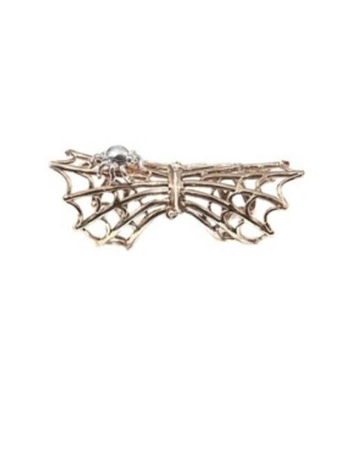 Bernard Delettrez | Metallic Bronze Articulated Spiderweb Ring With Silver Spider | Lyst