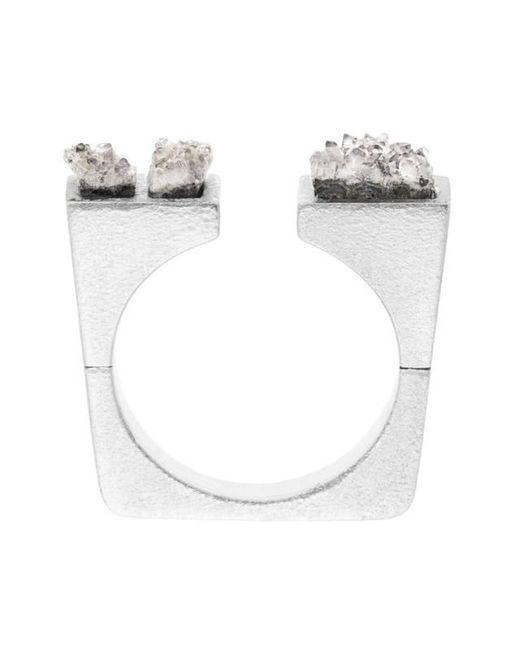 Pasionae - Metallic Asymmetrical Crystal Ring - Lyst