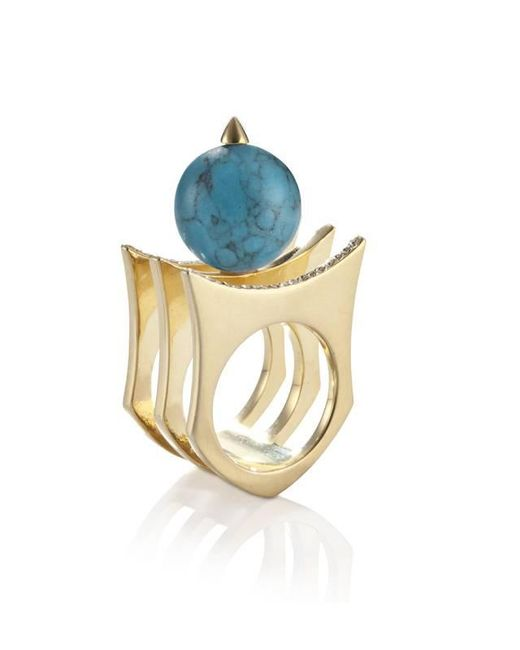 Yael Salomon | Metallic Greta 01 Gold And Turquoise Ring | Lyst