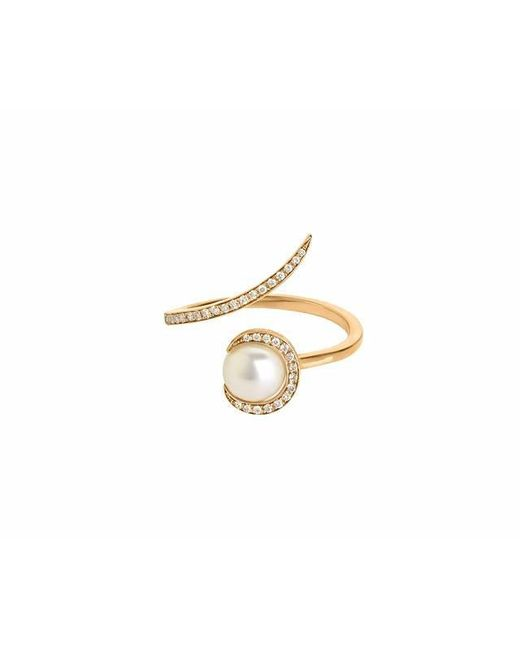 Christina Debs - Metallic Candy Pop Single Pearl And White Diamond Ring - Lyst