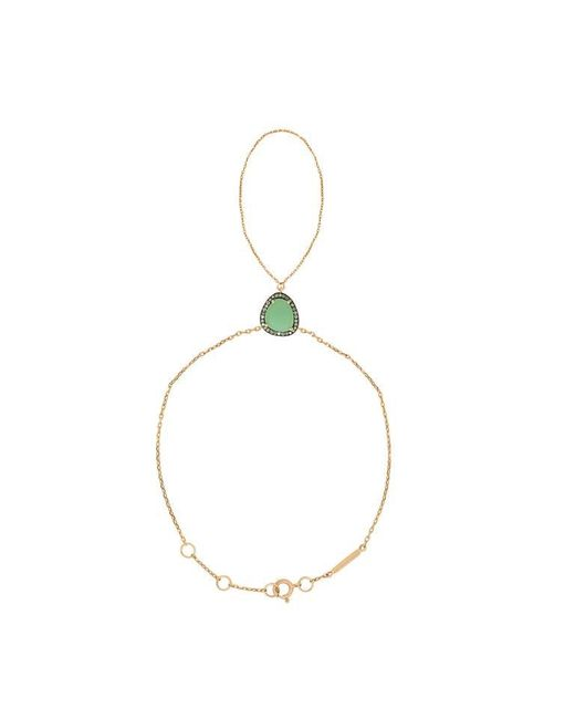 Christina Debs | Green Hard Candy Chrysoprase Brown Diamond Bracelet With Ring | Lyst
