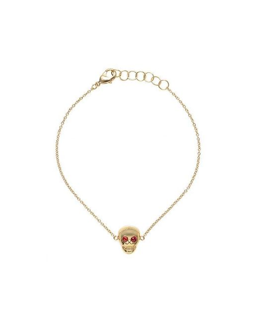 Madstone | Metallic Mini Skull Red Sapphires Gold Bracelet | Lyst