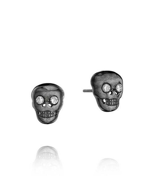 Madstone | Gray Mini Skull Black White Studs | Lyst