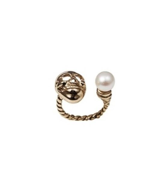 Bernard Delettrez | Metallic Skull And Pearl Bronze Ring | Lyst