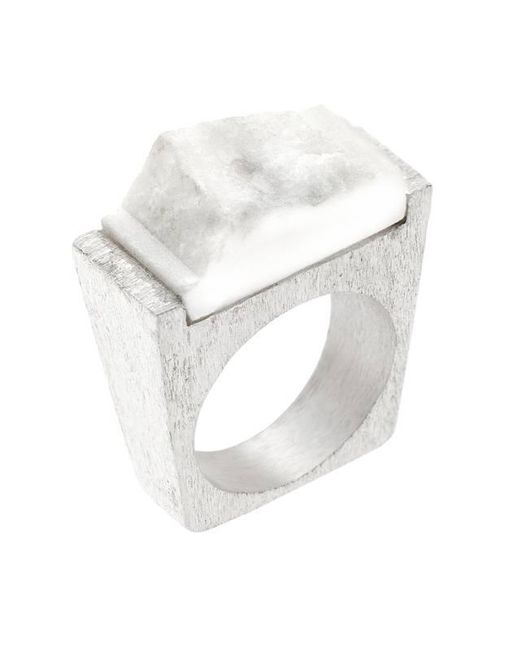 Pasionae | Metallic Snow Silver Ring | Lyst