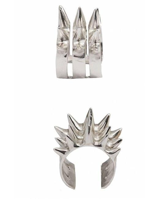 Bernard Delettrez | Metallic Triple Spike Silver Ring | Lyst