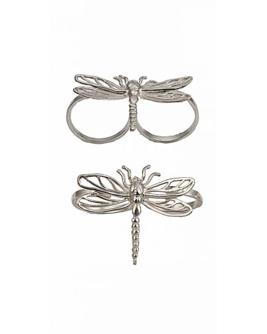 Bernard Delettrez | Metallic Two Finger Silver Ring With Dragonfly | Lyst