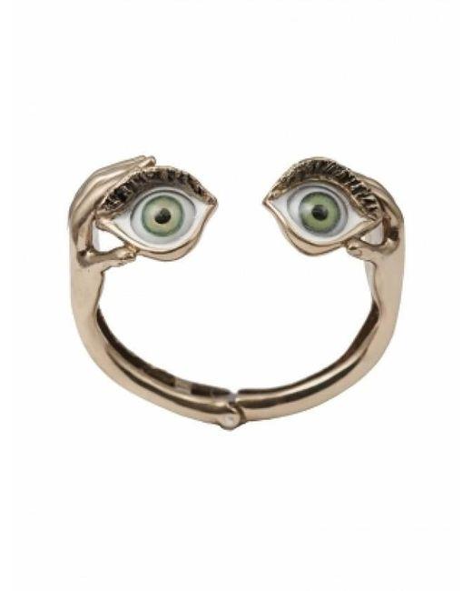 Bernard Delettrez | Metallic Bronze Bracelet With Enamel Eyes | Lyst