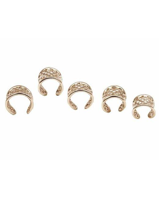 Bernard Delettrez - Metallic Set Of 5 Bronze Cage Rings - Lyst