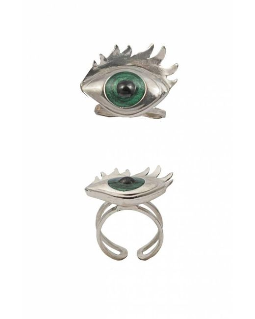 Bernard Delettrez | Metallic Silver Ring With Green Enamelled Eye | Lyst