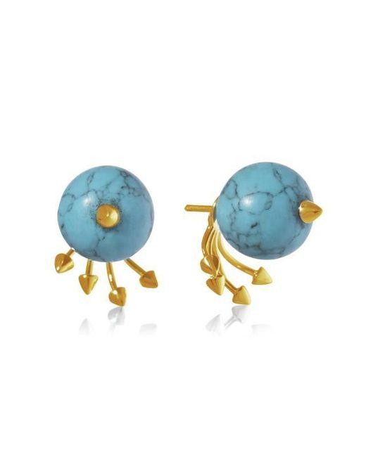 Yael Salomon - Blue Greta 05 Gold And Turquoise Earring - Lyst