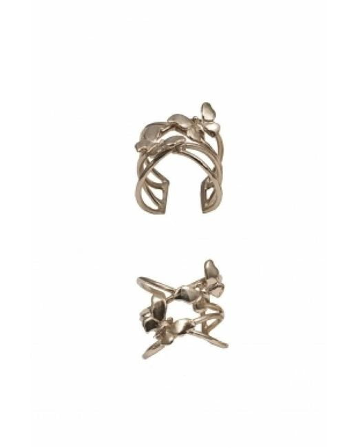 Bernard Delettrez | Metallic Bronze Criss Cross Ring With Butterflies | Lyst