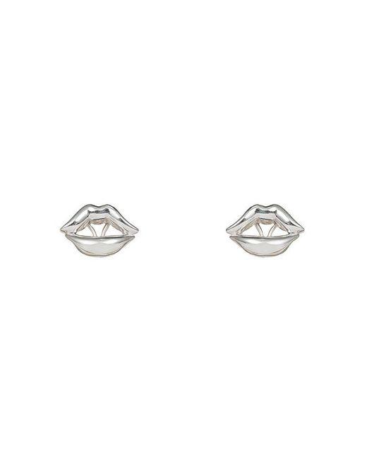 Bernard Delettrez - Metallic Lips Earrings Silver - Lyst