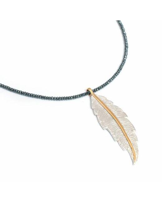 Leivan Kash | Blue Feather Hematite Necklace | Lyst
