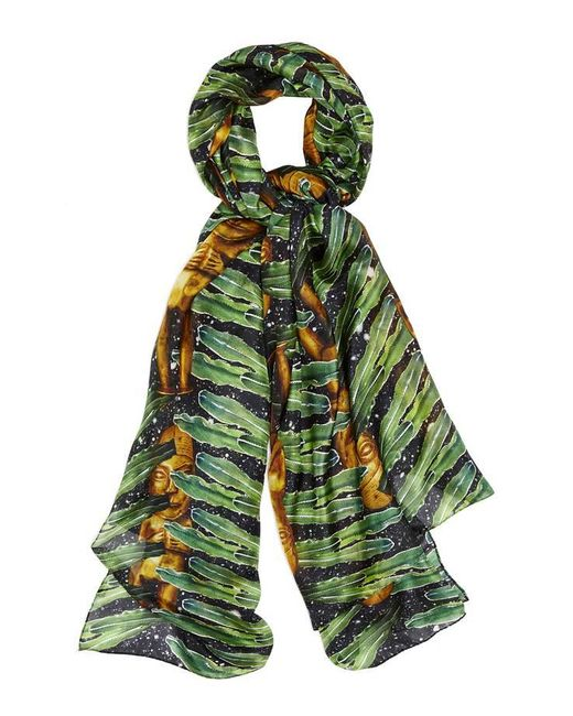 Kekkai - Green Aztec Jungle Patch Silk Scarf - Lyst