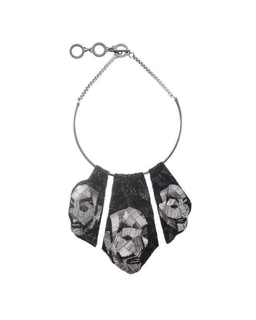 Forest Of Chintz - Black The Mask Panel Necklace - Lyst