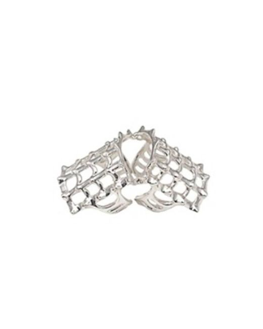 Bernard Delettrez - Metallic Cage And Studs Articulated Silver Ring - Lyst