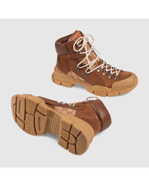 d400b8b07 ... Gucci - Brown Flashtrek GG Monogram High-top Sneakers - Lyst ...