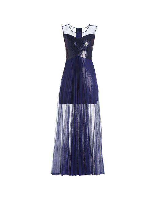 BCBGMAXAZRIA - Blue Bcbg Maxazria Cynthia Sequinned Detail Sunburst Pleated Gown Ahw69c04 - Lyst