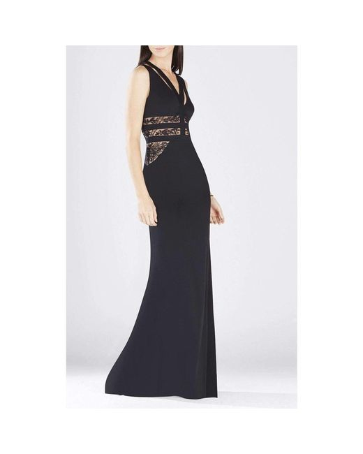 132ec961d35 BCBGMAXAZRIA. Women s Black Emyli Lace-blocked V-neck Dress.  284 From Runway  Catalog
