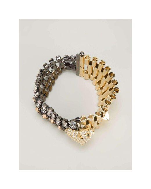 Iosselliani - Metallic Chettah Head Dirty Crystal Bracelet - Lyst