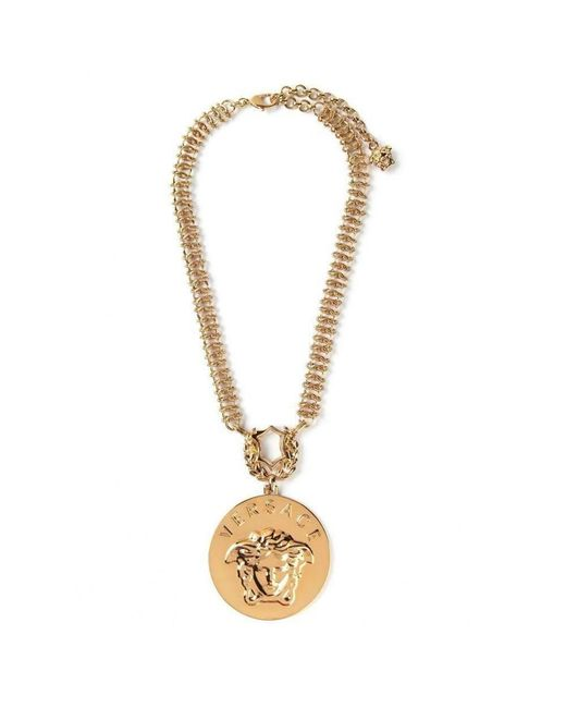 Versace - Metallic Gold Embellished Medusa Oversized Pendant Necklace - Lyst