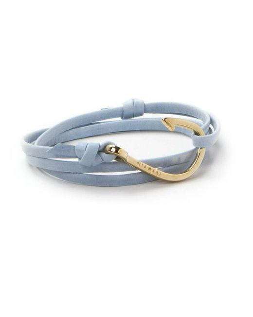 Miansai | Gold Fish Hook And Sky Blue Leather Wrap Bracelet | Lyst