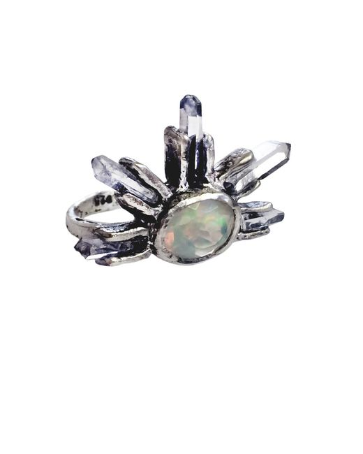 Unearthen | Metallic Large Eye Crown Ring With Opal And Quartz | Lyst
