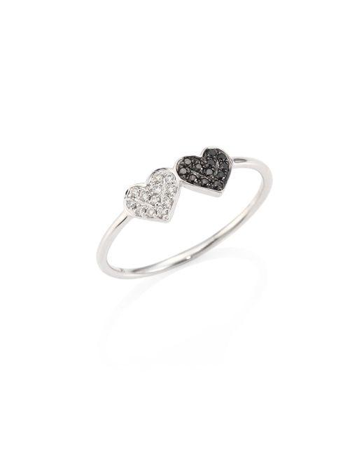 Sydney Evan | Metallic Small Pave Double Heart Diamond & 14k White Gold Ring | Lyst