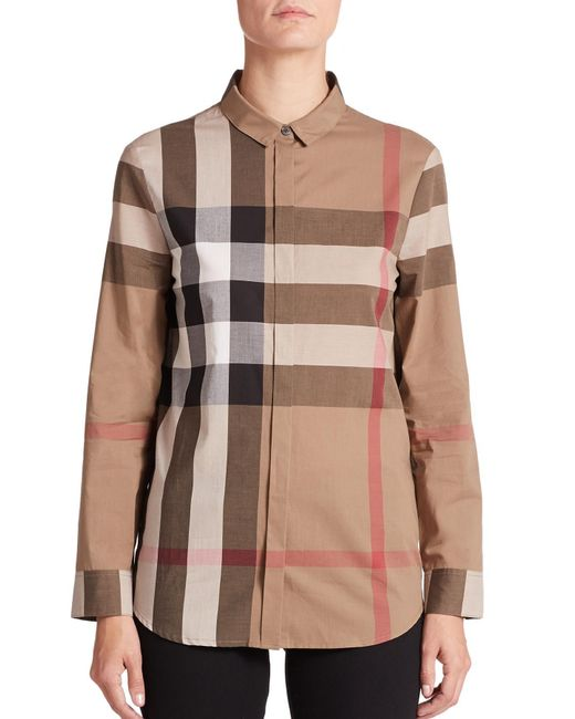 Burberry - Brown Large-check Blouse - Lyst