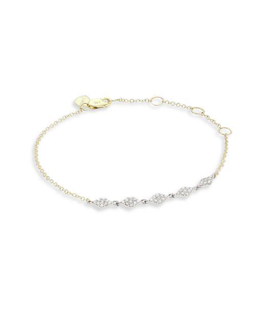 Meira T - Metallic Two-tone Diamond, 14k Yellow & White Gold Marquise Discs Bracelet - Lyst