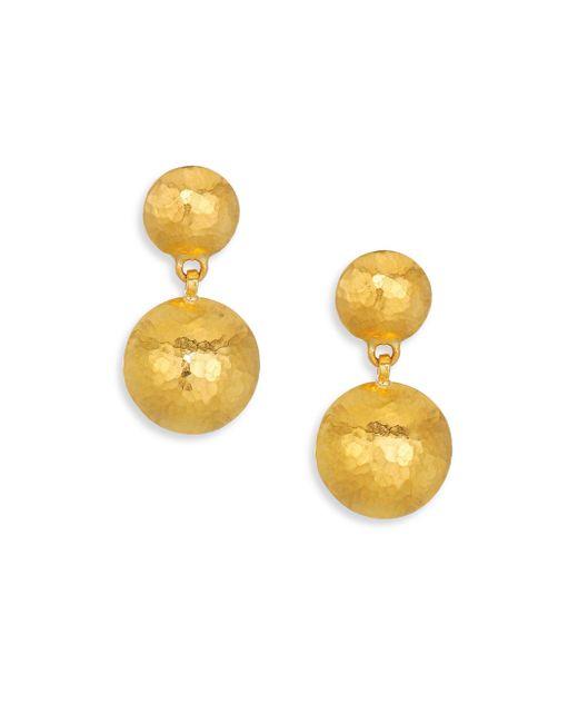 Gurhan - Metallic Lentil Hammered 24k Yellow Gold Drop Earrings - Lyst
