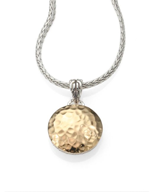 John Hardy | Metallic 18k Yellow Gold & Sterling Silver Hammered Disc Necklace | Lyst