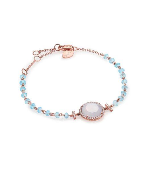 Meira T - Pink Chalcedony, Mother-of-pearl, Blue Topaz, Diamond & 14k Rose Gold Beaded Bracelet - Lyst