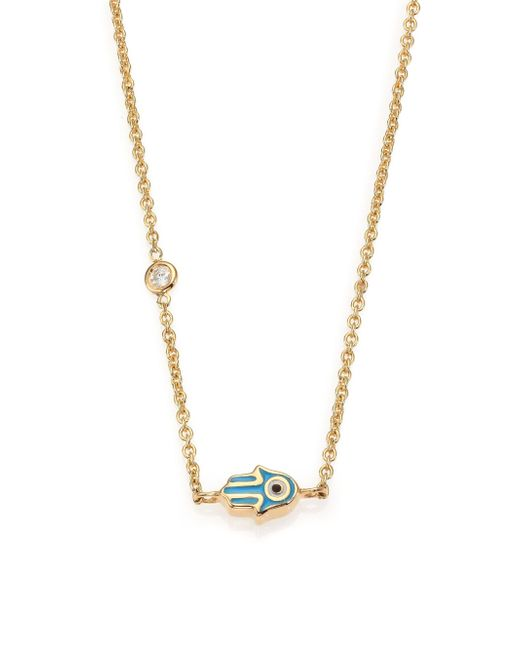 Sydney Evan - Metallic Mini Hamsa Diamond, Enamel & 14k Yellow Gold Pendant Necklace - Lyst