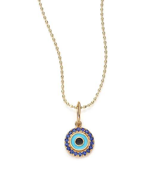 Sydney Evan - Metallic Sapphire, Enamel & 14k Yellow Gold Evil Eye Pendant Necklace - Lyst