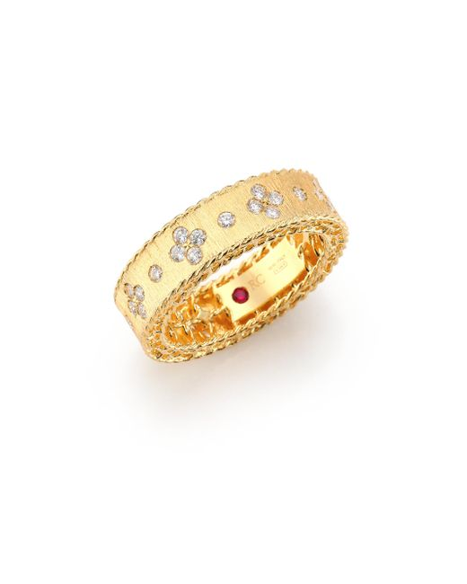 Roberto Coin - Metallic Princess Diamond & 18k Yellow Gold Band Ring - Lyst