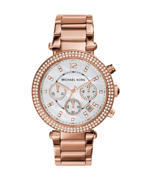 Michael Kors - Metallic Parker Pave Mother-of-pearl & Rose Goldtone Stainless Steel Chronograph Bracelet Watch - Lyst