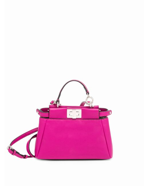 Fendi | Pink 'micro Peekaboo' Nappa Leather Bag - Burgundy | Lyst
