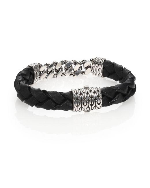 John Hardy | Black Classic Chain Gourmette Silver Link & Leather Bracelet | Lyst