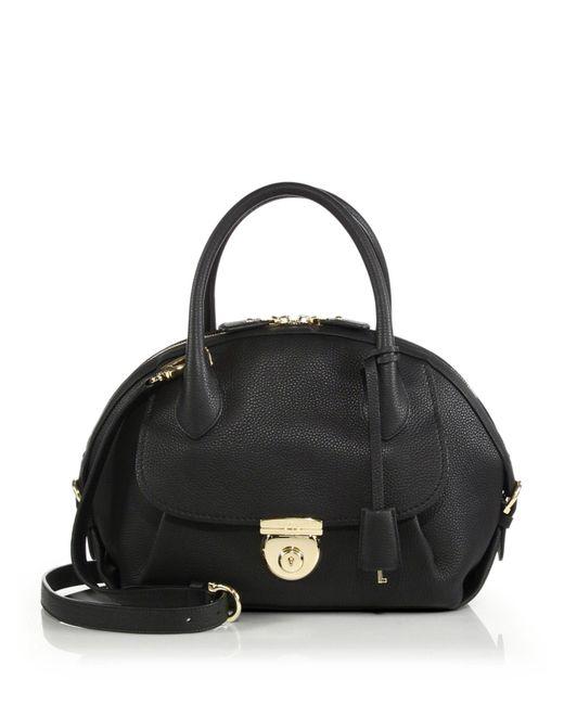 Ferragamo | Black Fiamma Medium Pebbled Leather Satchel | Lyst