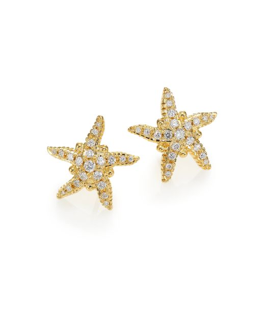 Temple St. Clair | Metallic Diamond & 18k Yellow Gold Sea Star Stud Earrings | Lyst