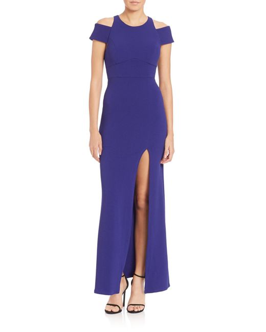 ABS By Allen Schwartz | Blue Cut-out Crepe Gown | Lyst